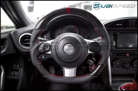 FT-86 SpeedFactory Facelifted CR Style Carbon Fiber / Leather Steering Wheel