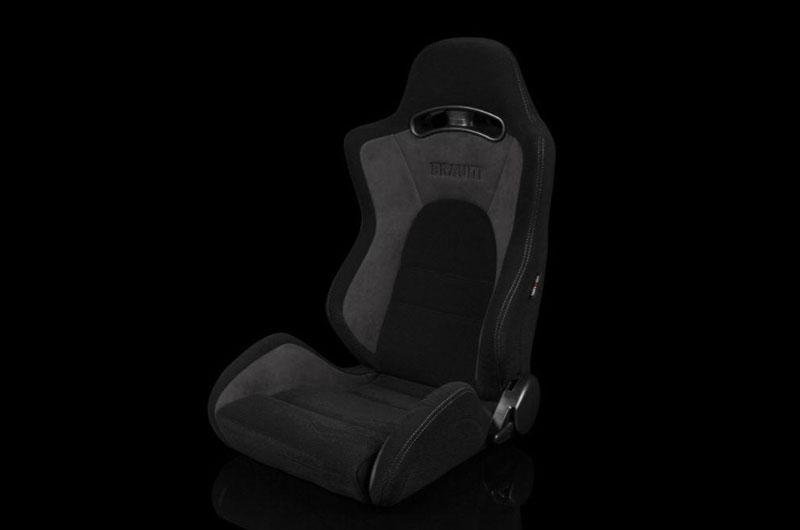 Braum S8 Series V2 Sport Seats - Black Cloth with Grey Microsuede Pair