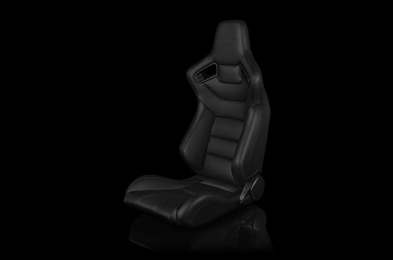Braum Elite Series Sport Seats - Black Leatherette (Black Stitching) Pair