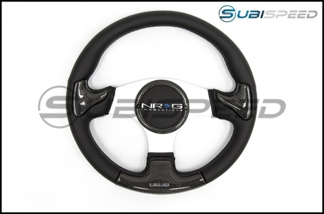 NRG 350mm carbon fiber steering wheel Silver Frame With Black Stitching - Universal