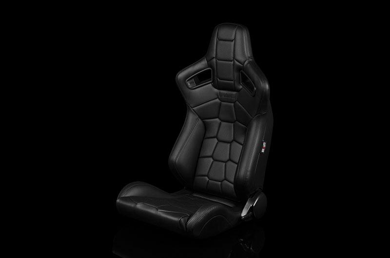 Braum Elite-X Series Sport Seats - Komodo Edition | Black Leatherette (Black Stitching) Pair