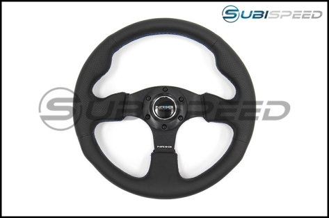 NRG Race Style Premium Leather Steering Wheel 320mm w/ Blue Stitching - Universal