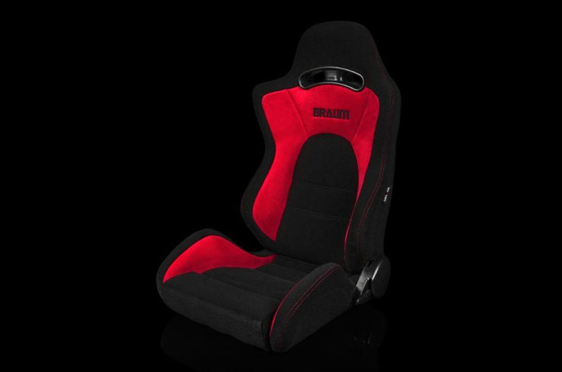 Braum S8 Series V2 Sport Seats - Black Cloth with Red Microsuede Pair