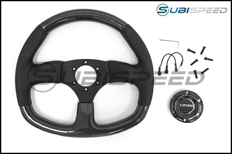 NRG 315mm Carbon Fiber Steering Wheel Red Stitching