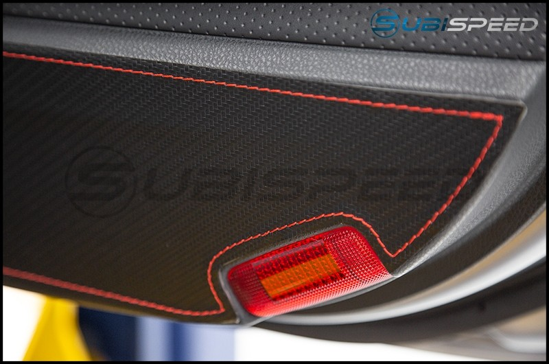 OLM Carbon Look Kick Guard Protection Set with Red or Silver Stitching
