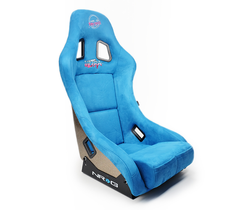 NRG Innovations FRP Bucket Seat ULTRA Edition with peralized back, Blue Alcantara material