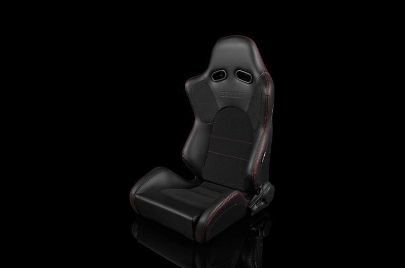 Braum Advan Series Sport Seats - Black Leatherette (Red Stitching) Pair