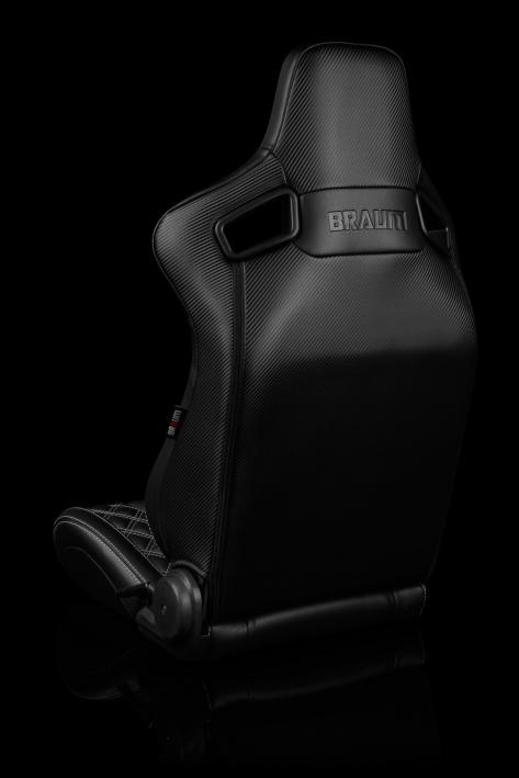 Braum Elite-X Series Racing Seats Diamond Edition White Piping Pair - Universal
