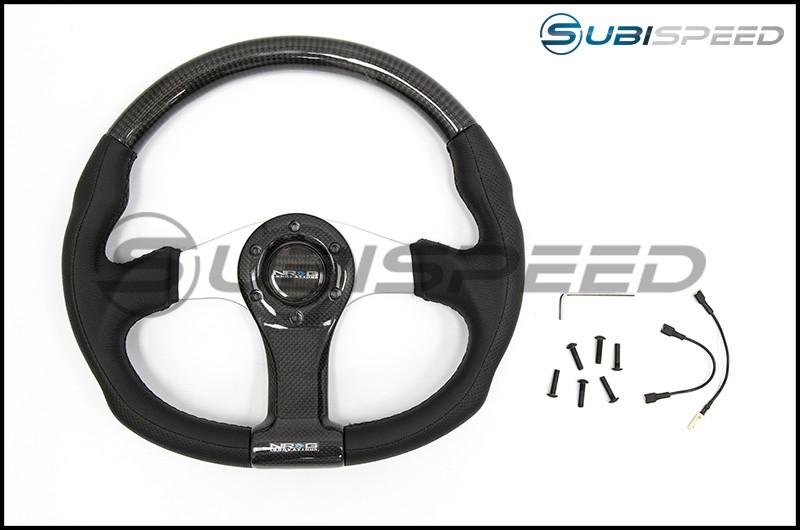 NRG 350mm Carbon Fiber Steering wheel Silver Oval Shape