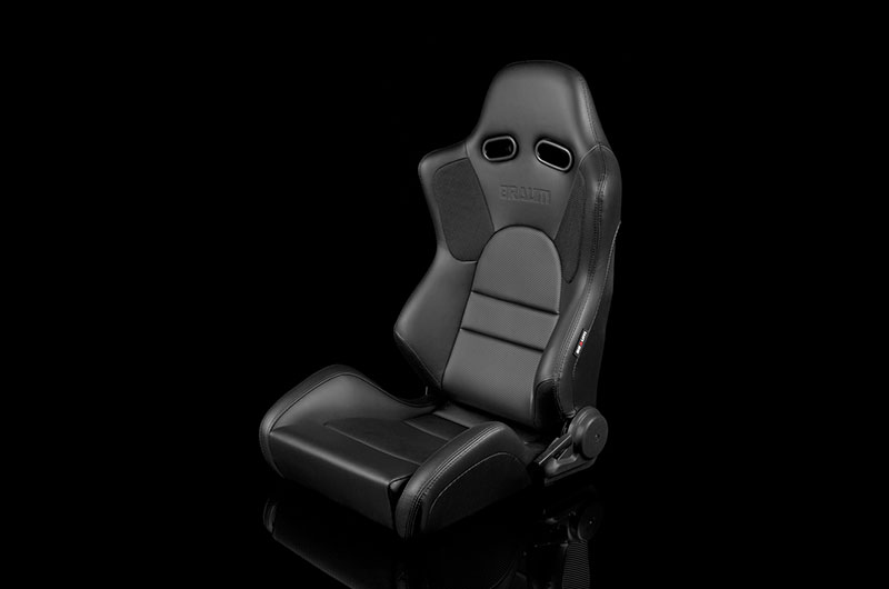 Braum Advan Series Sport Seats - Black Leatherette (Black Stitching) Pair