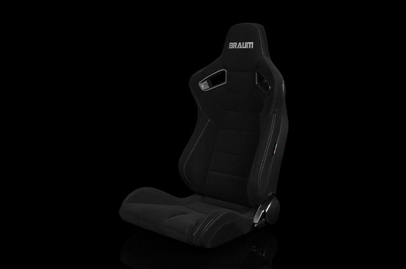 Braum Elite Series Sport Seats - Black Cloth (Grey Stitching) Pair