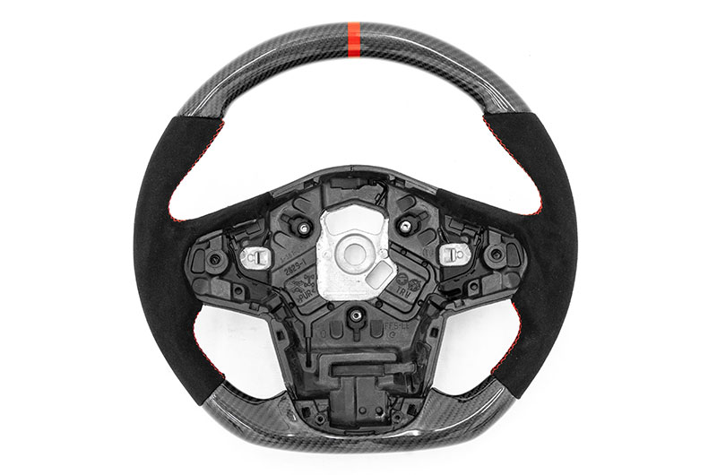 OLM Carbon Pro Steering Wheel Carbon Fiber and Alcantara with Red Stripe