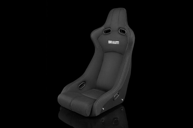 Braum Venom-R Series Fixed Back Bucket Seat - Black Cloth / Carbon Fiber Each