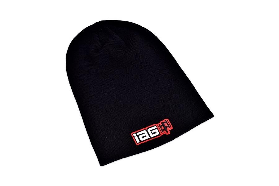 IAG Black Knit Slouch Beanie Cap Corporate Logo
