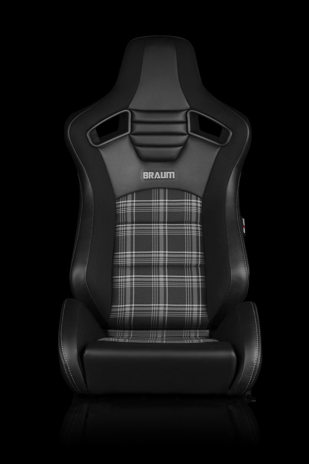 Braum Elite-S Series Sport Seats - Black & Grey Plaid (Grey Stitching) Pair - Universal