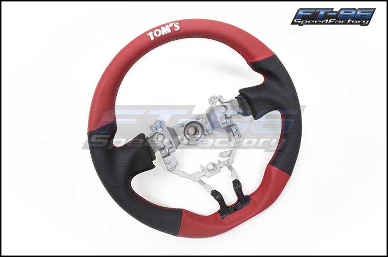 TOM'S Black / Red Leather Steering Wheel