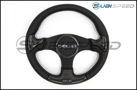 NRG 350mm carbon fiber steering wheel Black Frame With Black Stitching - Universal
