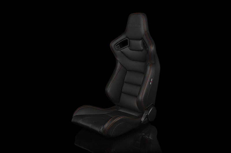 Braum Elite Series Sport Seats - Black Leatherette (Orange Stitching) Pair