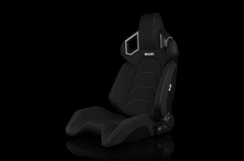 Braum Alpha X Series Sport Seats - Black Polo Fabric (Grey Stitching)  Pair