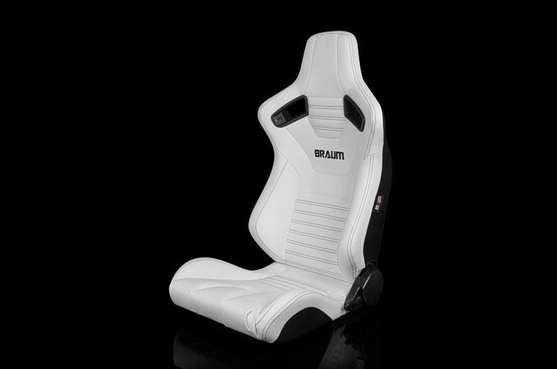 Braum Elite-X Series Sport Seats - White Leatherette (Black Stitching) Pair