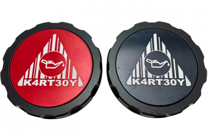 Kartboy Oil Cap Aluminum Black with Black and Red Center Logos