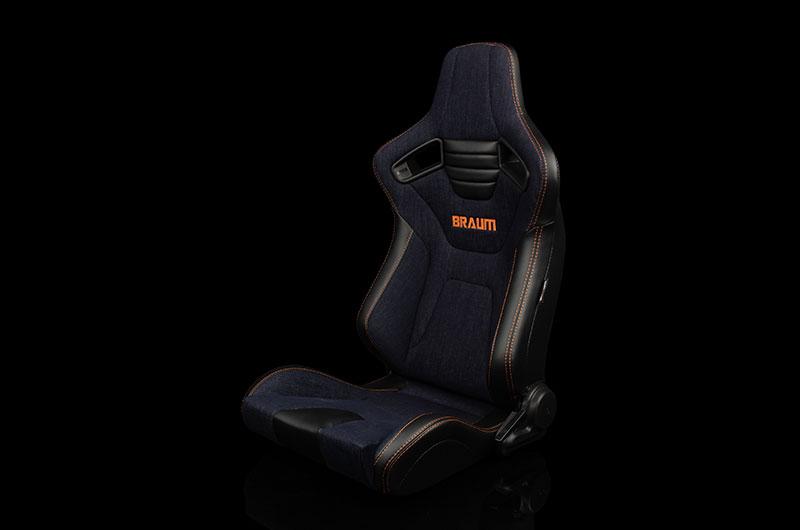 Braum Elite-X Series Sport Seats - Black PU / Navy Denim / Orange Stitching Pair