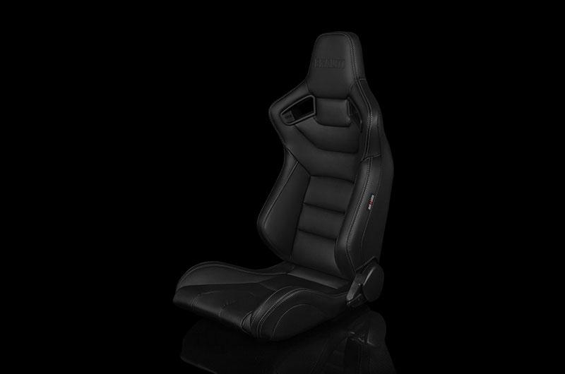Braum Elite Series Sport Seats - Black Leatherette (White Stitching) Pair