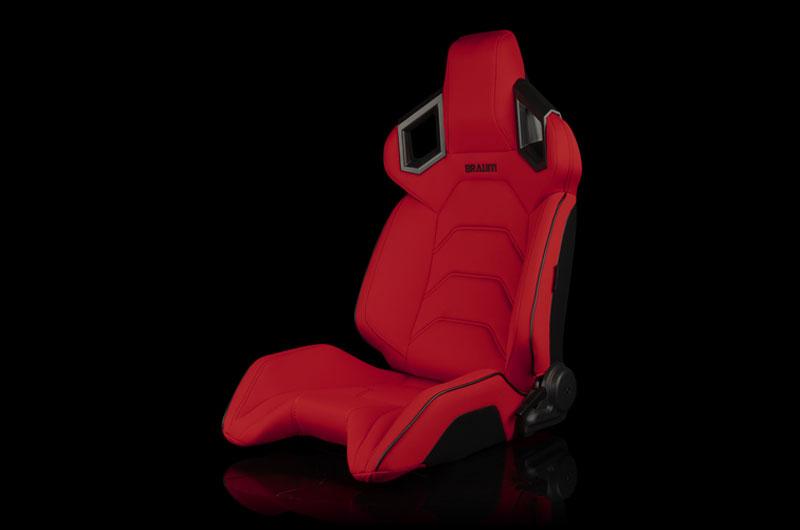 Braum Alpha X Series Sport Seats - Red Polo Fabric (Black Stitching)  Pair